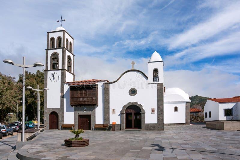 Church Iglesia DE San Fernando Rey 1679 in het vierkant van de stad van Santiago del Teide royalty-vrije stock afbeelding