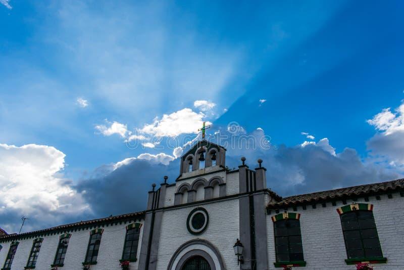 Church illuminated in Boyaca Colombia royalty free stock images
