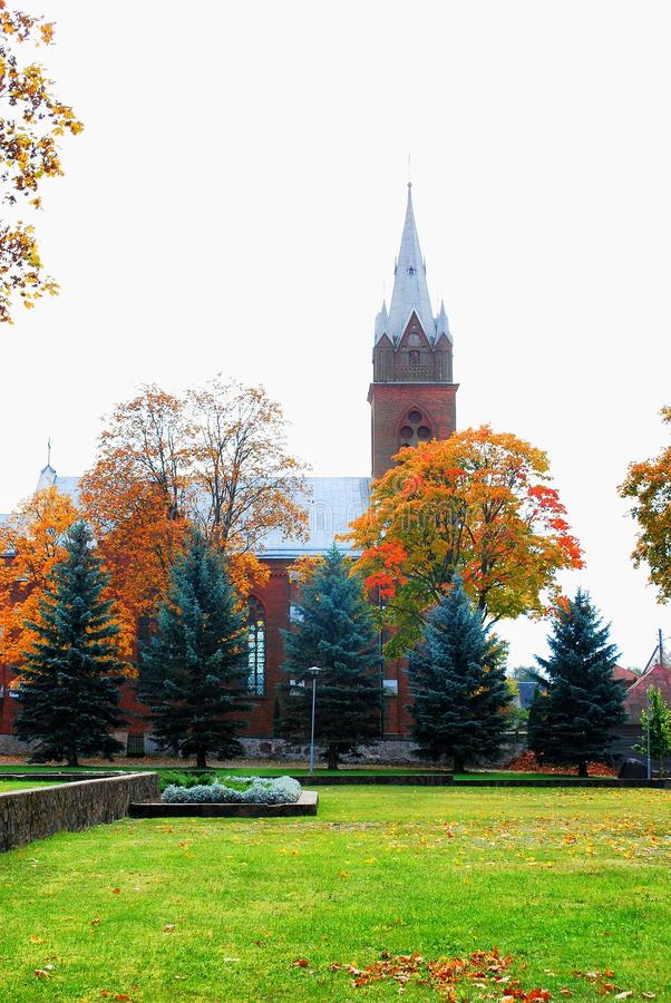 Free Church In Little Town At Autumn Time Stock Images - 46423654