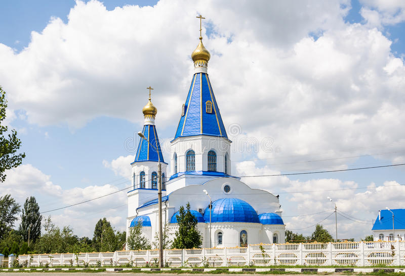 The Church of the Intercession of the blessed virgin Mary in the Northern cemetery of Rostov-na-Donu. Northern district, street Orbitalnaya royalty free stock photos