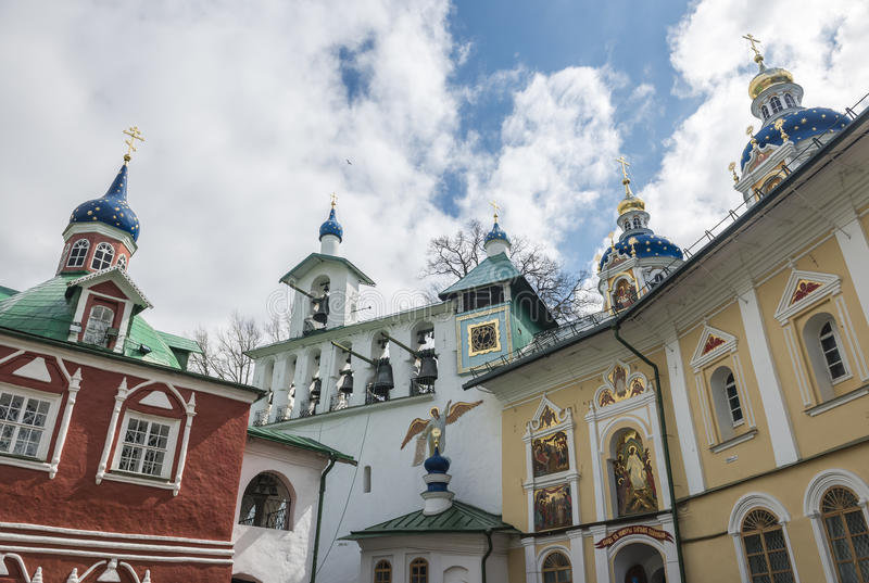 The Church of the intercession of the Pskov-caves monastery. The City Of Pechora. Russia. Church of the intercession and the bell tower of the Pskov-caves stock photography