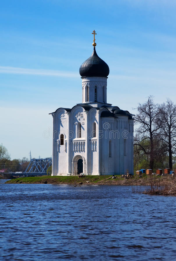 Church of the Intercession on River Nerl in flood stock photography