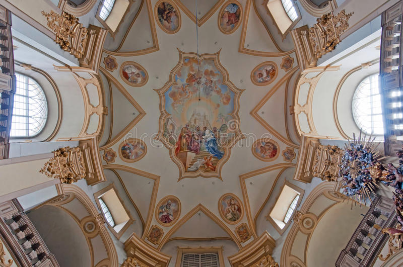 Church Interior. Interior of the church at Wambierzyce in Poland royalty free stock image