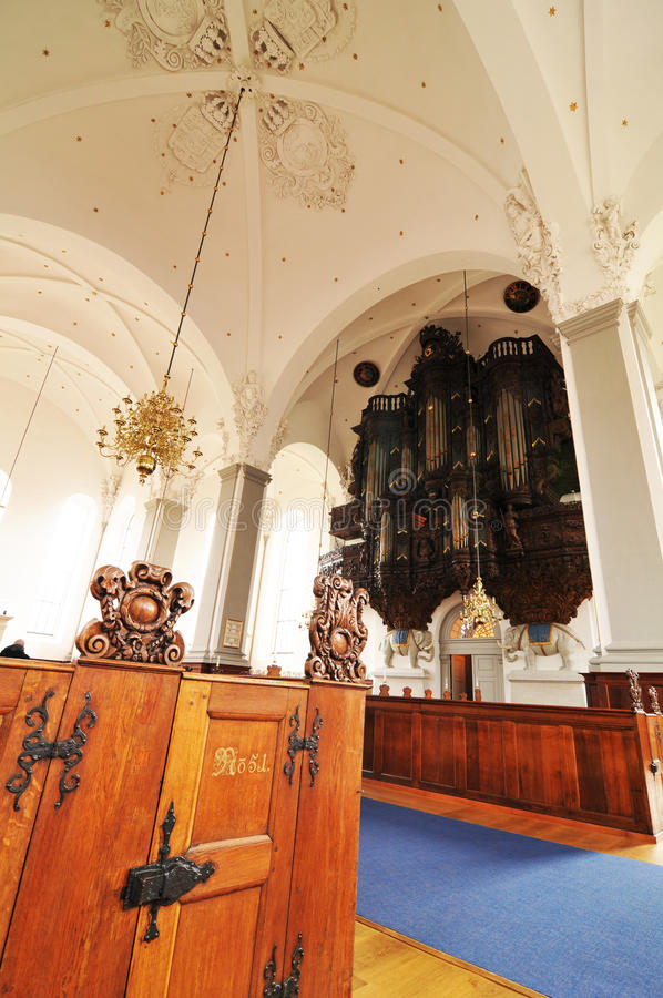 Church interior. Detail of antique organ in the Church of Our Saviour (Vor Frelsers Kirke) in Copenhagen, Denmark royalty free stock images