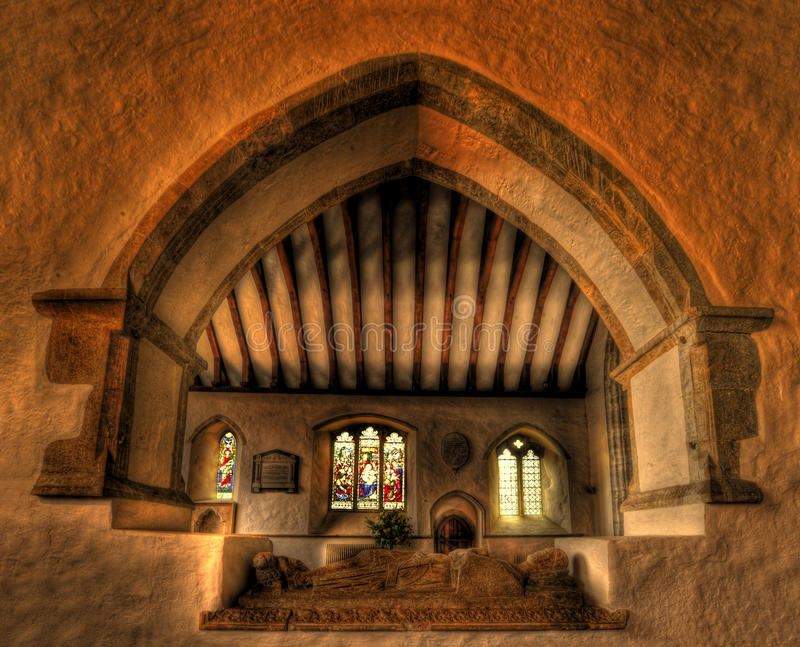 Church interior with crusaders tomb