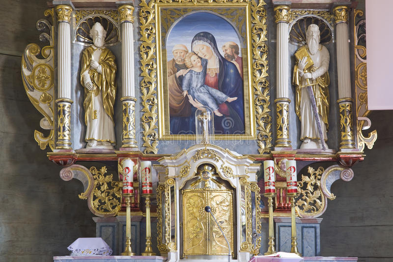 Church interior with Holy Family stock photography