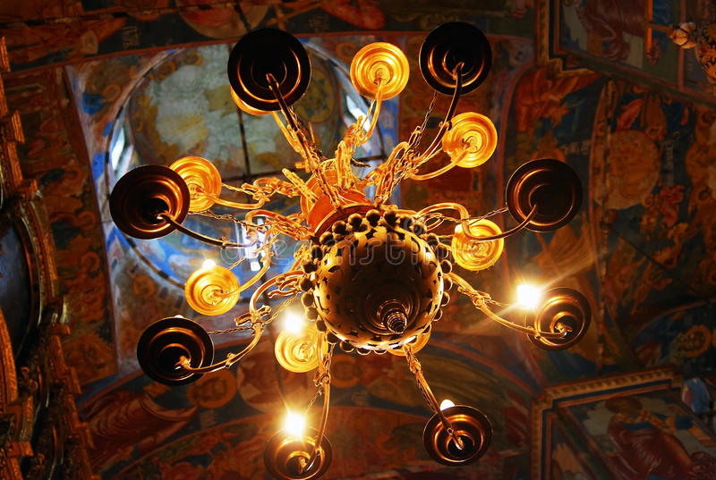Church interior with original 17th century frescos. Church interion with original 17th century frescoes. Famous landmark - Church of Elijah the Prophet in stock image