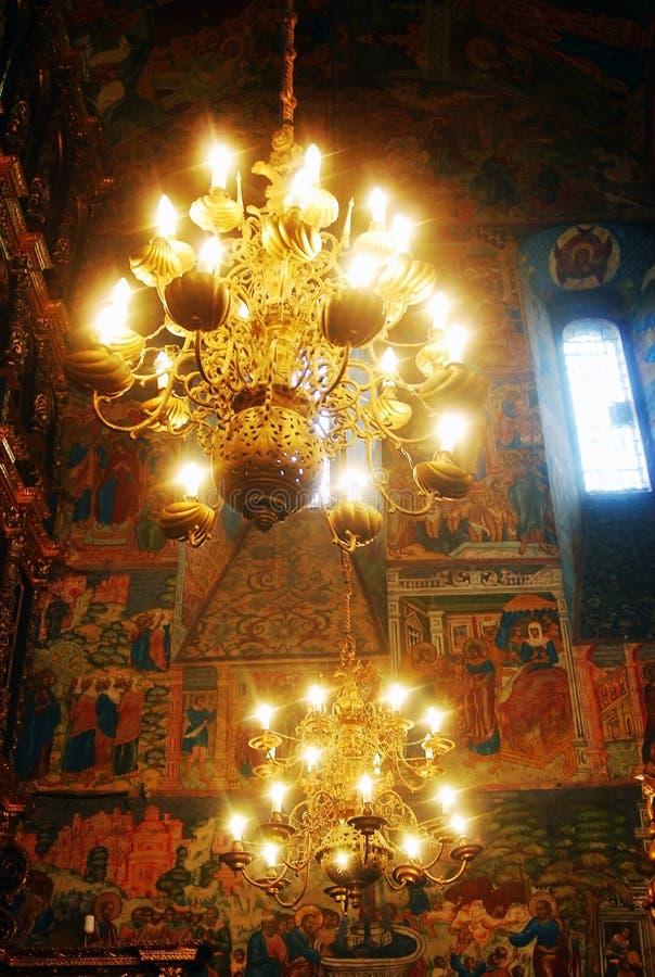 Church interior with original 17th century frescos. Church interion with original 17th century frescoes. Famous landmark - Church of Elijah the Prophet in royalty free stock image