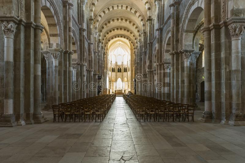 Church Interior in Vezelay Yonne. Vezelay, France - July 29, 2018: Church Interior of the romanesque abbey of Vezelay in Yonne, France royalty free stock photo