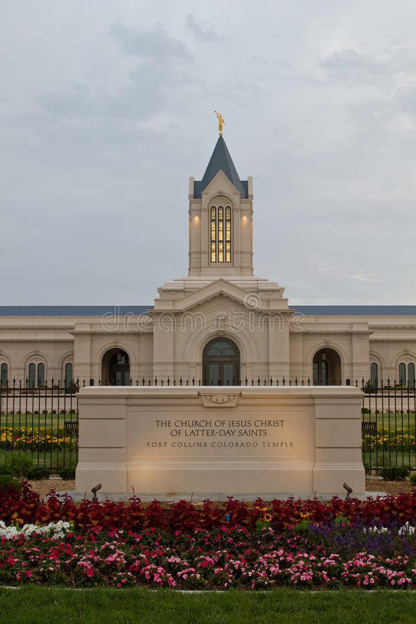 The Church of Jesus Christ of Latter-Day Saints Temple in Fort C. The Fort Collins Colorado Temple at sunrise on a cloudy day. The Church of Jesus Christ of stock photos