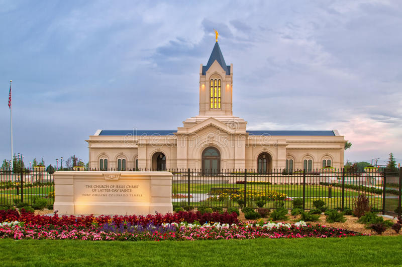 The Church of Jesus Christ of Latter-Day Saints Temple in Fort C. The Fort Collins Colorado Temple at sunrise on a cloudy day. The Church of Jesus Christ of royalty free stock photo