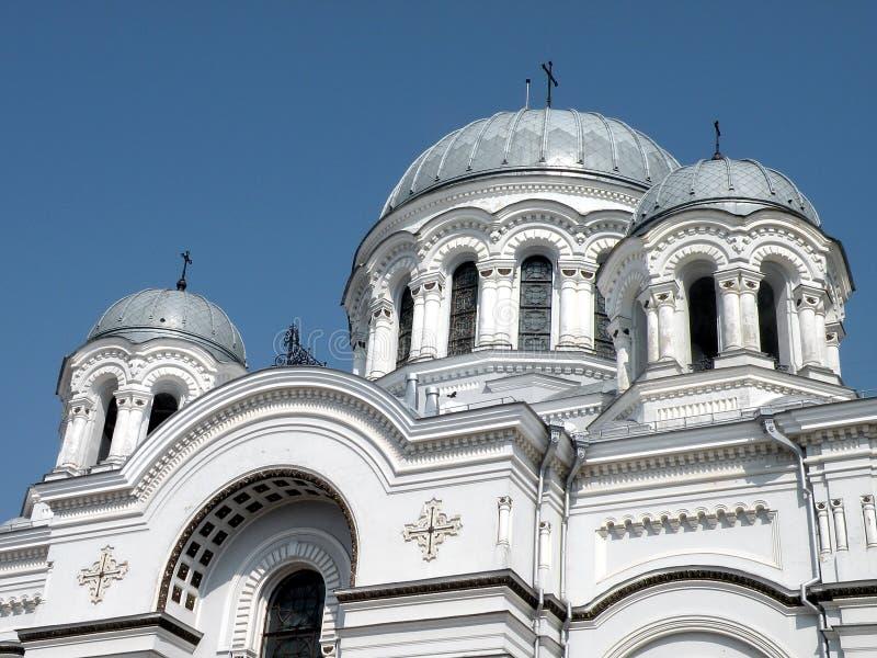 Church in Kaunas. Facade of Archangel Michael church (Garrison church) in Kaunas stock photography