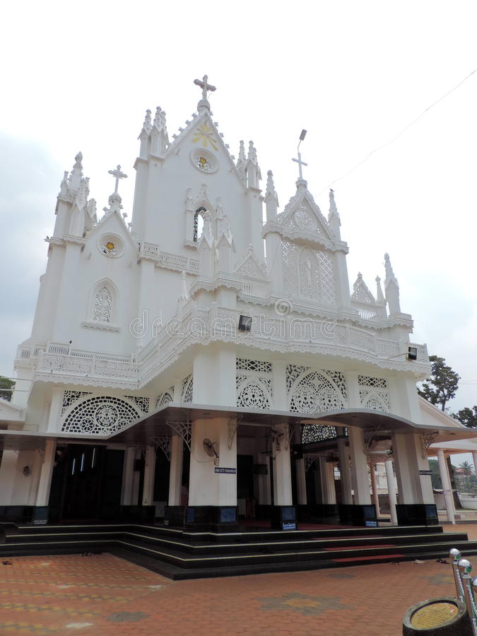 Church in Kerala, India. St. Mary's Jacobite Syrian Cathedral, also known as Manarcad Marth Maryam Cathedral, is a Syrian Orthodox church located near stock photo