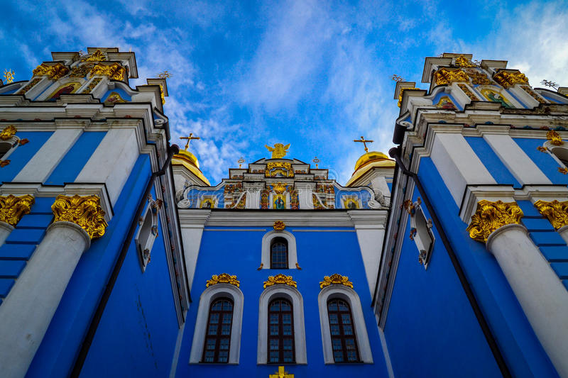 Church in Kiev. Beautiful Orthodox church in the heart of Kiev , beautiful sunny day stock images