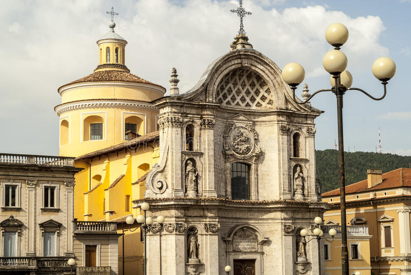 Church of L'Aquila. L'Aquila (Abruzzi, Italy) - Historic church and other ancient buildings royalty free stock image