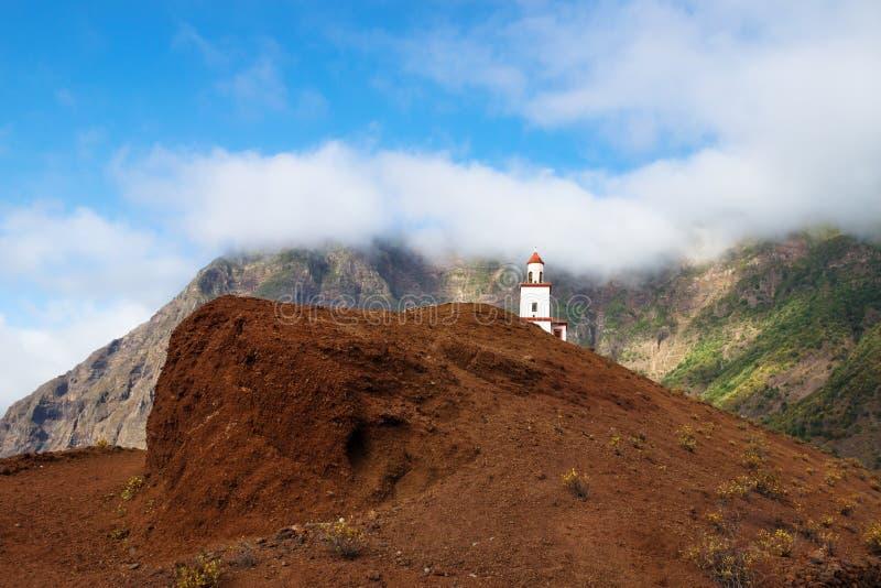 The church La Candelaria on a red hill, Frontera, El Golfo, El Hierro, Canary Islands, Spain royalty free stock image