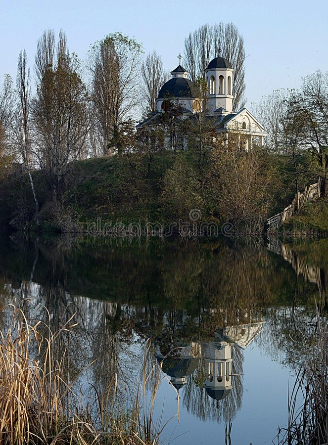 Church by the lake royalty free stock images