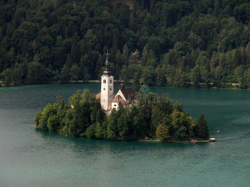 Church on lake Bled stock image