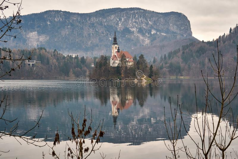 Church on lake Bled island, Slovenia royalty free stock photos