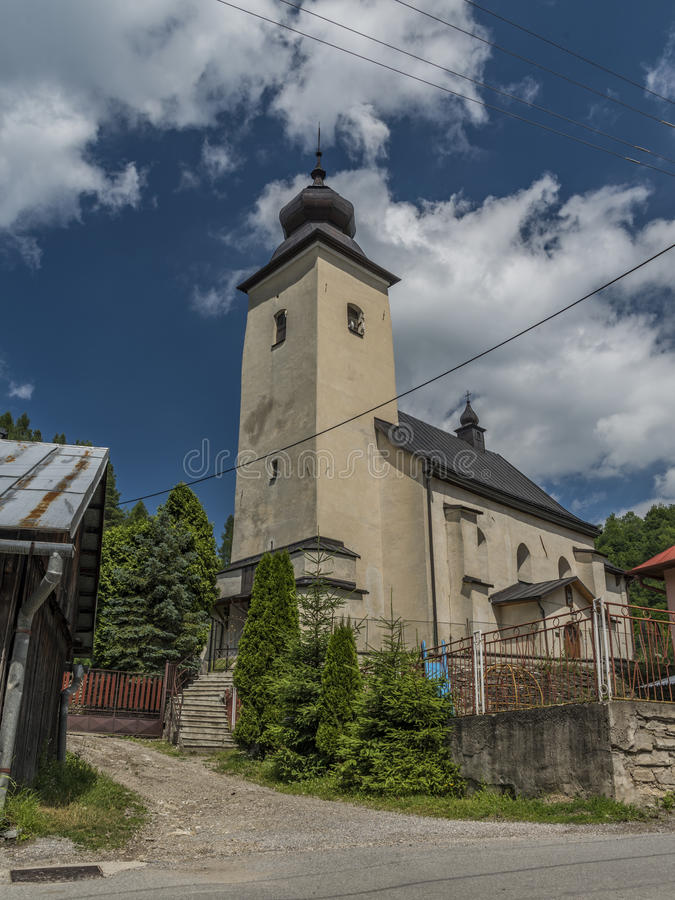 Church in Lesnica village in Pieniny national park. In summer sunny day royalty free stock photos