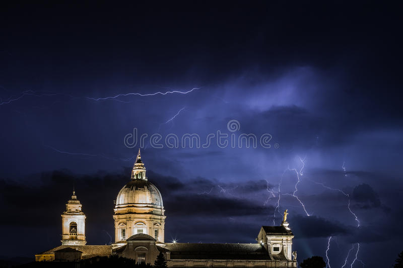 Church and lightnings royalty free stock images
