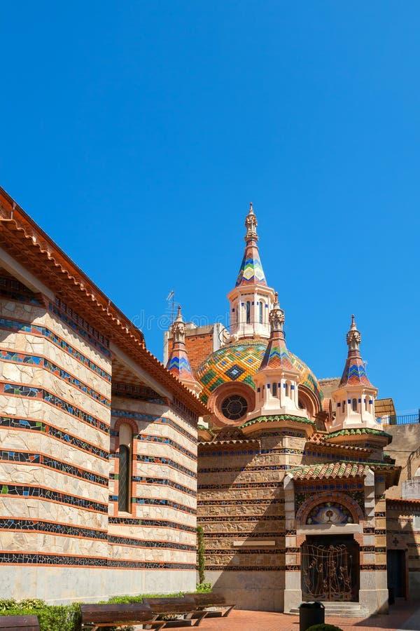 Church in Lloret de Mar. Spain. Parish Church of Sant Roma in Lloret de Mar. Girona province, Catalonia, Spain stock photography