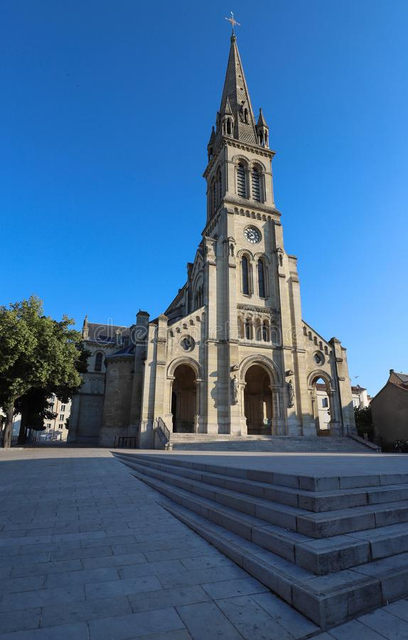 Church located in the city of Argenteuil and named Basilique Saint Denys. France. Church located in the city of Argenteuil and named Basilique Saint Denys . Val stock photography