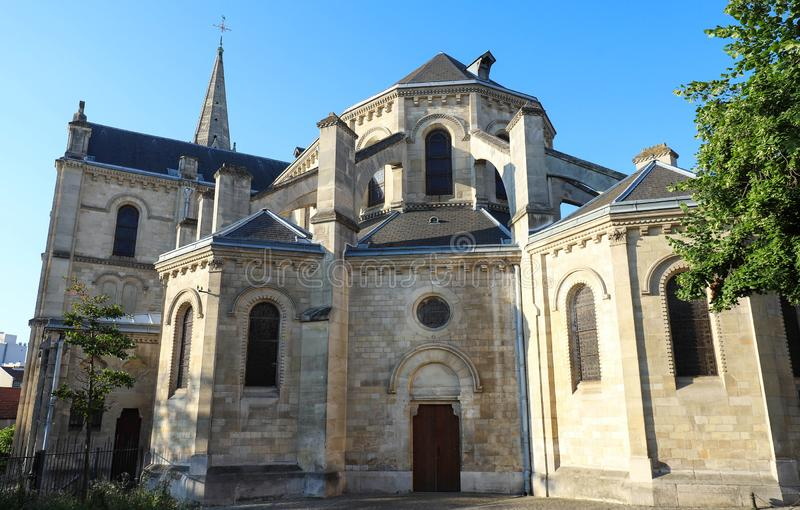 Church located in the city of Argenteuil and named Basilique Saint Denys. France. Church located in the city of Argenteuil and named Basilique Saint Denys . Val royalty free stock photos