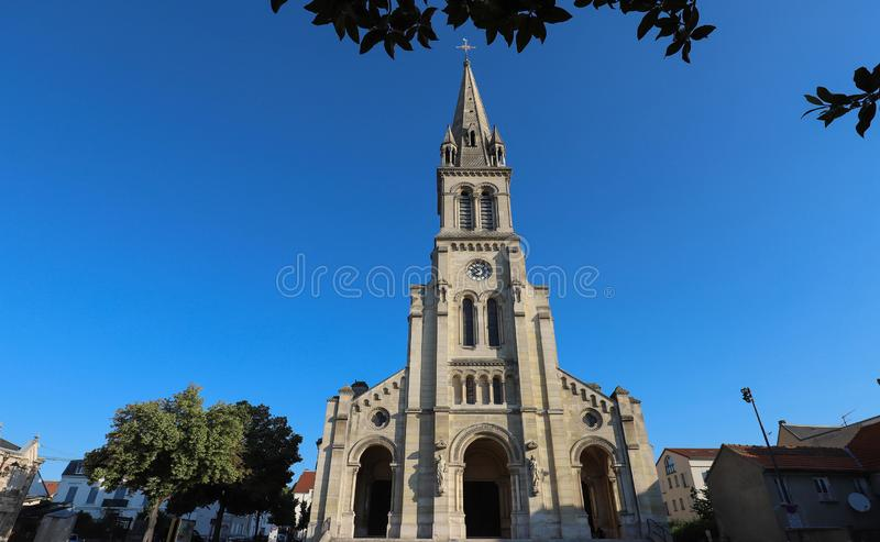 Church located in the city of Argenteuil and named Basilique Saint Denys. France. Church located in the city of Argenteuil and named Basilique Saint Denys . Val royalty free stock image