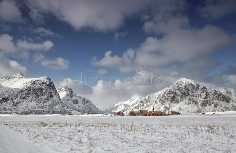 Church in Lofoten Archipelago, Norway in the winter time royalty free stock photography