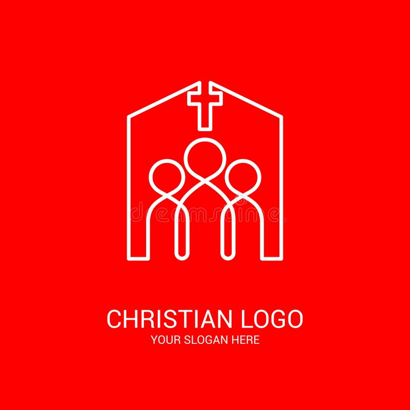 Free Church Logo And Biblical Symbols. The Unity Of Believers In Jesus Christ, The Worship Of God, Participation In The Evening Royalty Free Stock Images - 146970829