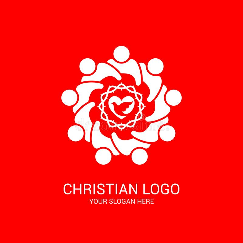 Church logo and biblical symbols. The unity of believers in Jesus Christ, the worship of God. Participation in the evening of the Lord and the reading of the royalty free illustration
