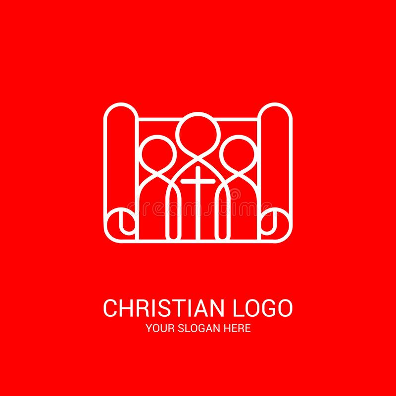 Church logo and biblical symbols. The unity of believers in Jesus Christ, the worship of God, participation in the evening. Of the Lord and the reading of the royalty free illustration
