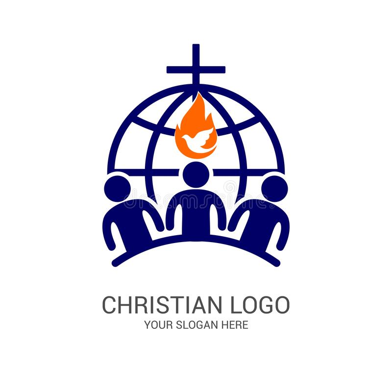 Church logo and biblical symbols. The unity of believers in Jesus Christ, the worship of God, participation in the evening. Of the Lord and the reading of the vector illustration