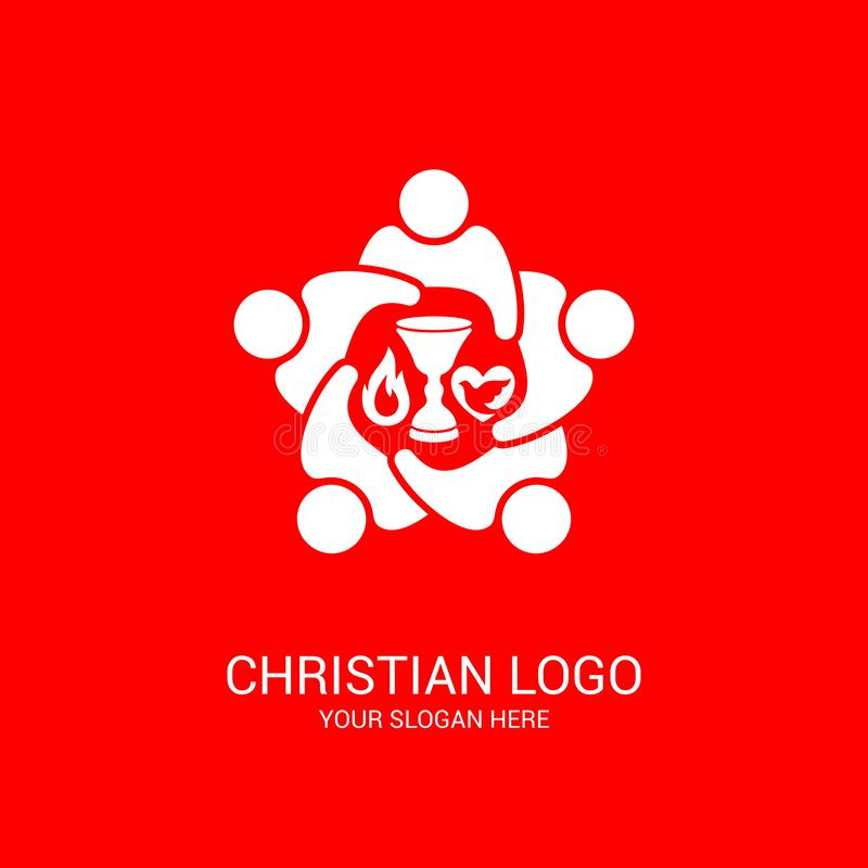 Church logo and biblical symbols. The unity of believers in Jesus Christ, the worship of God. Participation in the evening of the Lord and the reading of the vector illustration