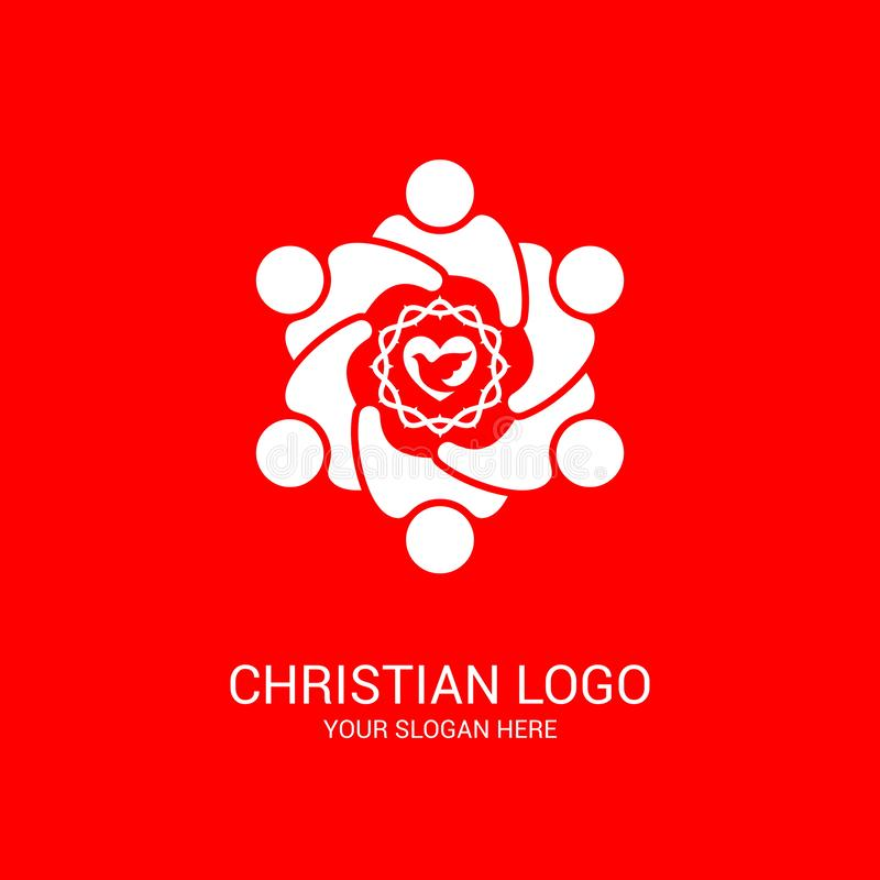 Church logo and biblical symbols. The unity of believers in Jesus Christ, the worship of God. Participation in the evening of the Lord and the reading of the stock illustration