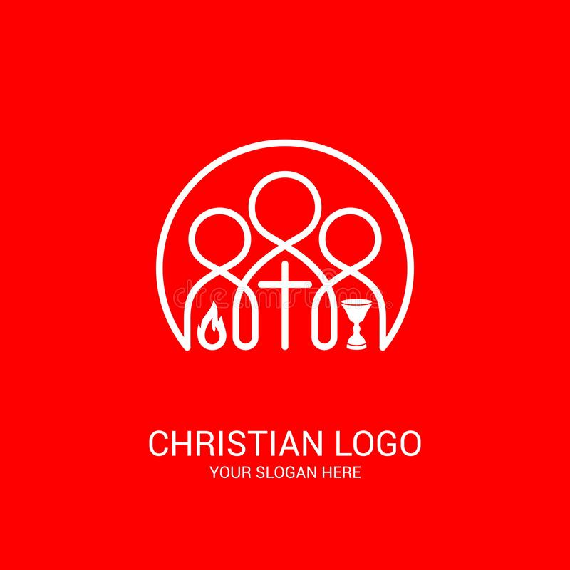 Church logo and biblical symbols. The unity of believers in Jesus Christ, the worship of God, participation in the evening. Of the Lord and the reading of the stock illustration