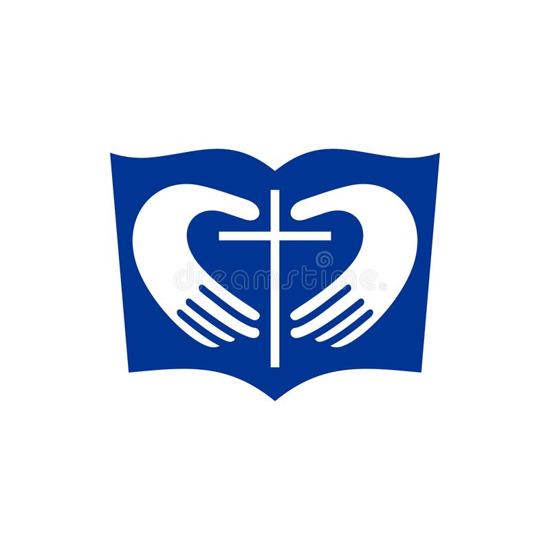 Church logo. Christian symbols. The Bible, hands forming the heart and the cross of Jesus. vector illustration