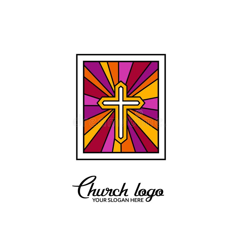 Church logo. Christian symbols. Cross of Jesus Christ on the background of a stained-glass window.  vector illustration