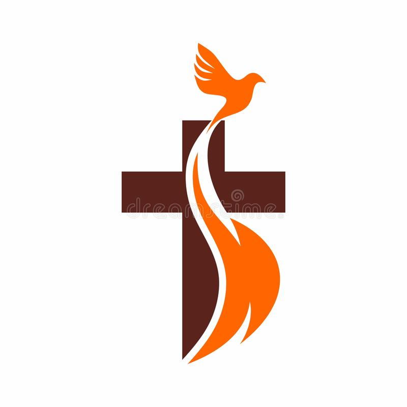 Church logo. Christian symbols. The Cross of Jesus, the fire of the Holy Spirit and the dove.  stock illustration