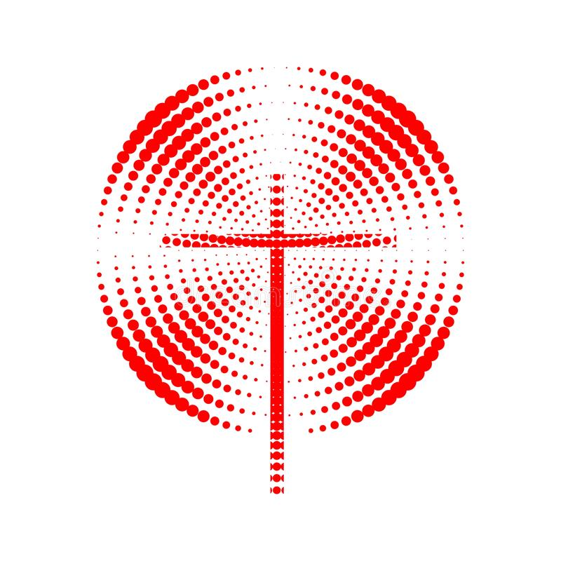 Church logo. Christian symbols. The cross of Jesus and radial radiance vector illustration