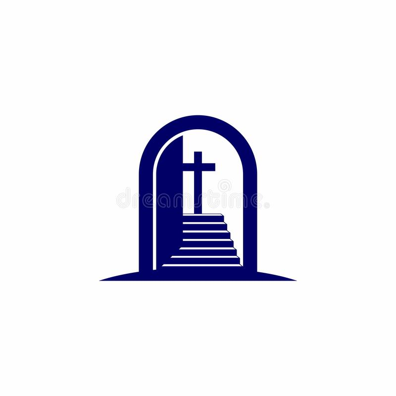 Free Church Logo. Christian Symbols. Open The Door And The Staircase Leading To The Cross Of The Lord And Savior Jesus Christ Stock Photography - 123523742