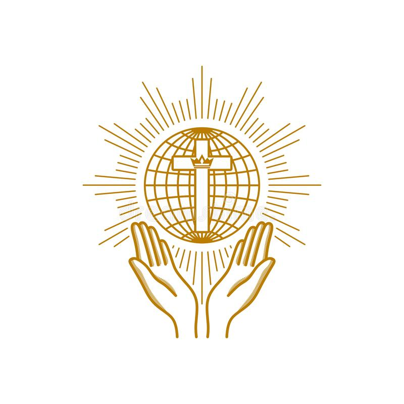 Church logo. Christian symbols. Praying hands are turned to the cross on the background of the globe vector illustration