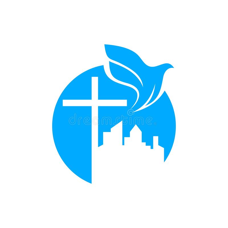 Free Church Logo. Christian Symbols. The Cross Of Jesus And The Dove Over The City. Royalty Free Stock Photography - 123573647