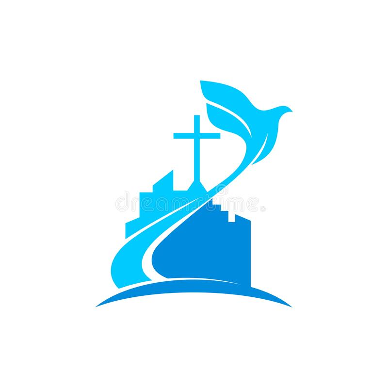 Free Church Logo. Christian Symbols. The Cross Of Jesus And The Dove Over The City. Stock Photo - 123573670