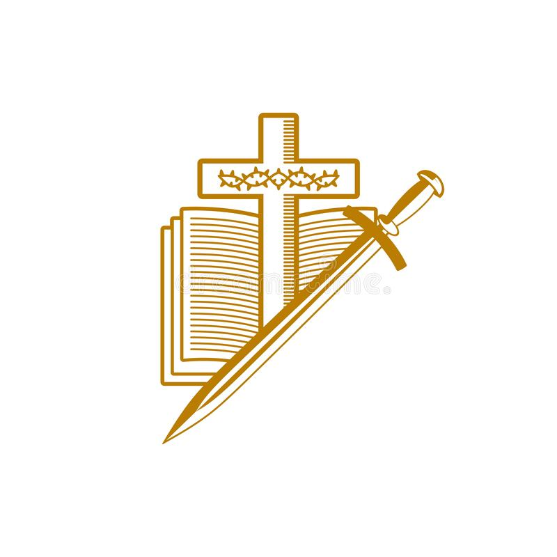 Free Church Logo. Christian Symbols. The Cross Of Jesus Christ, The Holy Scriptures, The Crown Of Thorns And The Sword Stock Photography - 132783342