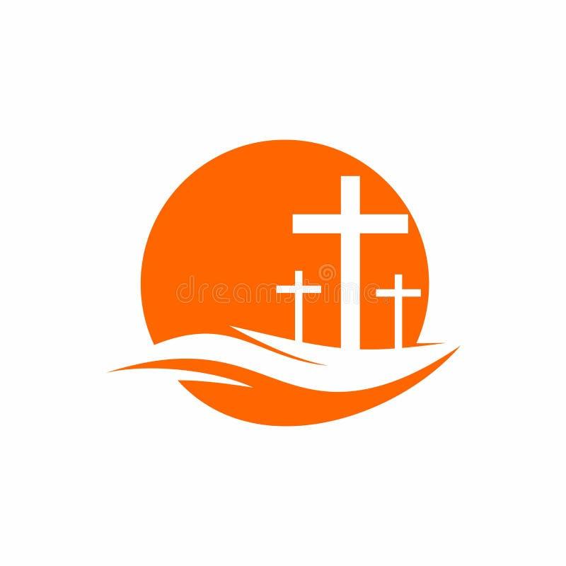 Free Church Logo. Christian Symbols. Three Crosses On A Hill Stock Photography - 123532562