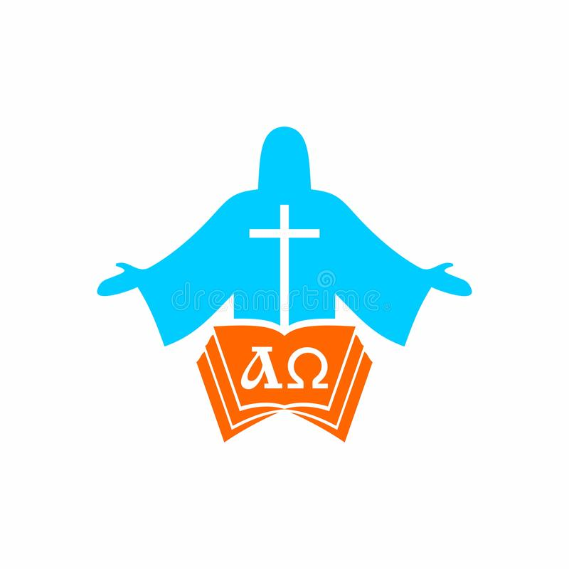 Church logo. Cristian symbols. Jesus Christ, the bible and the letters alpha and omega. vector illustration