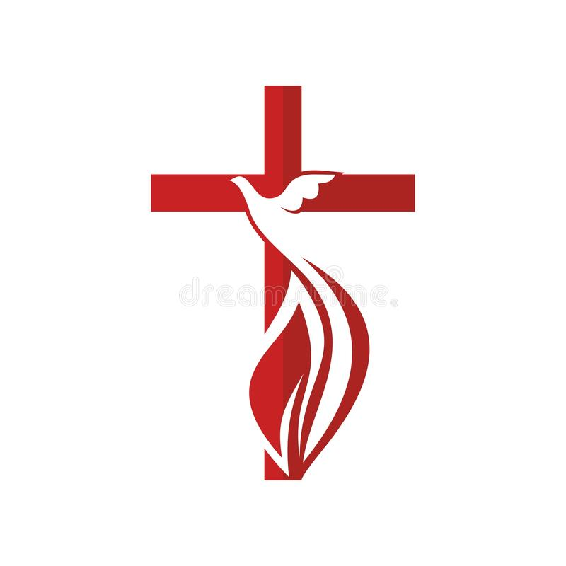 Church Logo Cross And Dove Symbol Of The Holy Spirit Stock Vector