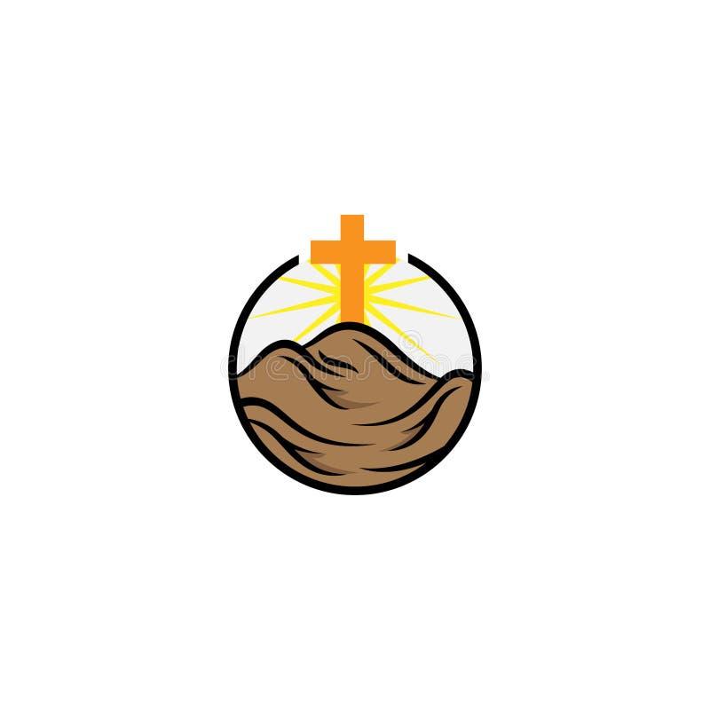 Church logotype in circle. Baptist cross in mountain logo royalty free illustration